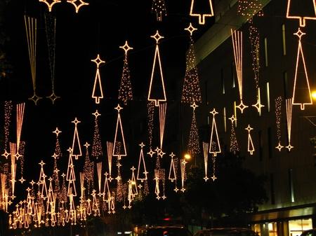 shining light: Christmas lights in Barcelona street