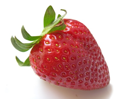 nutritive: A single red strawberry isolated in white