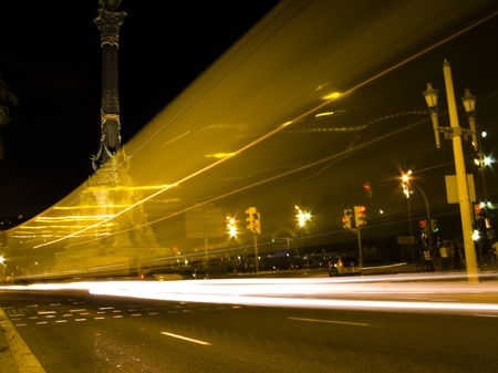 Traffic lights at night, shoot at low speed to get that blurred and trail effect. It photo