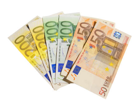 20 euro: Different euro bills isolated in white