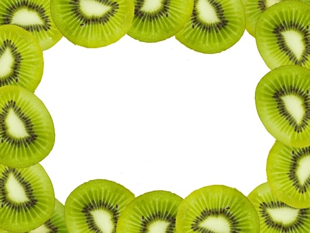 Green kiwi fruits frame over white background photo