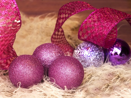 Christmas balls and decoration closeup,in purple and pink colors Stock Photo - 11139917