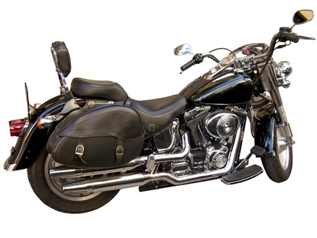 A black motorcycle, isolated in white