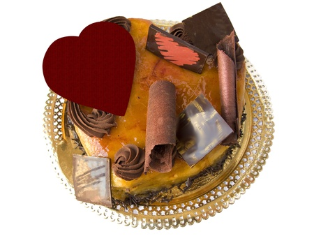 Chocolat and cream valentine cake, heart shaped photo