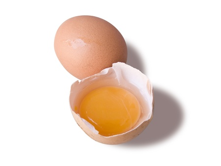 albumin: Egg and a broken half, isolated in white