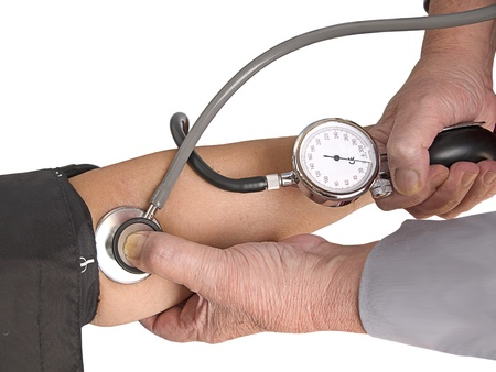 instrument of measurement: Measuring the blood pressure. Isolation Stock Photo