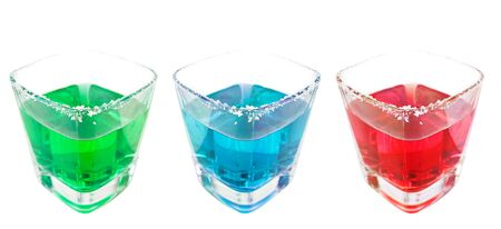 Three different cocktail drink drink isolated in white photo