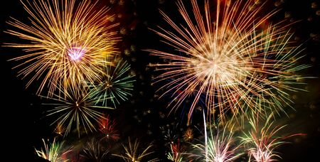 Colorful fireworks over dark sky during a celebration Stock Photo - 11864304