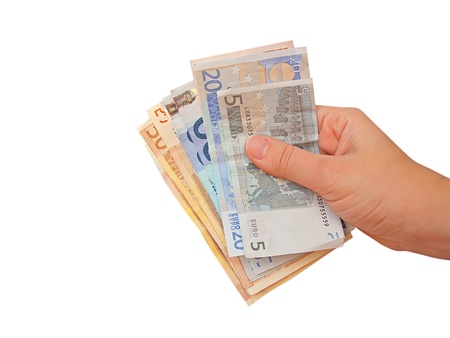 economise: Hand holding euro bills, isolated in white