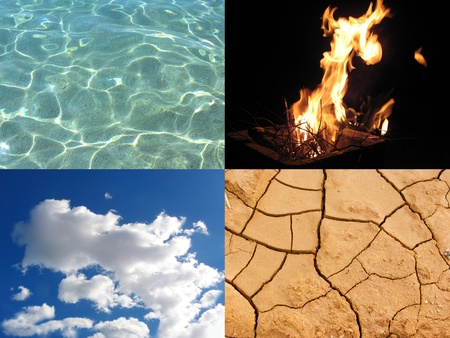 Image that represents the four elements: water, fire, air and earth photo