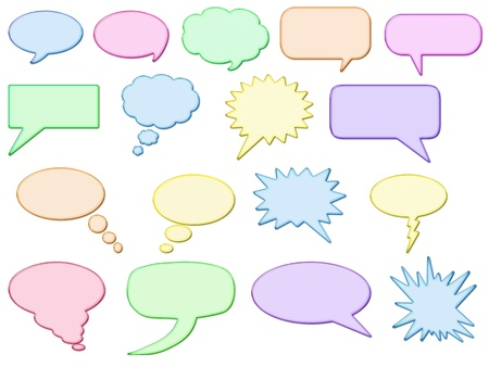 Glossy shining speech bubbles, in different colours