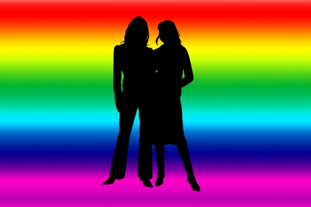 Rainbow banner with lesbian silhouettes photo