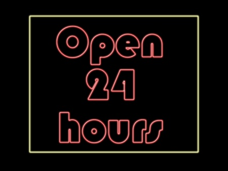 Neon open 24 hours words in red with a yellow frame. Illustration illustration