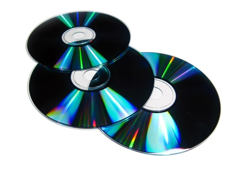discs: Three compac disc isolated in white Stock Photo
