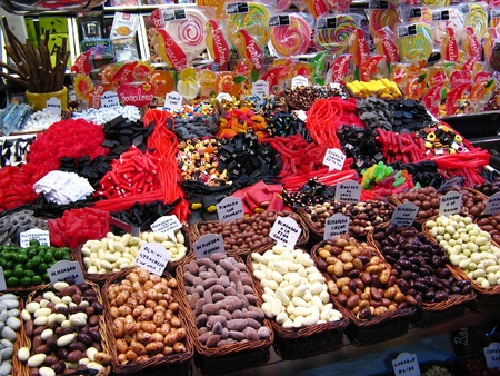 Sweets and dried fruits in the market Stock Photo - 12373425
