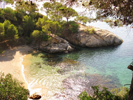 Beautiful corner in Costa Brava, blue sea and nature photo