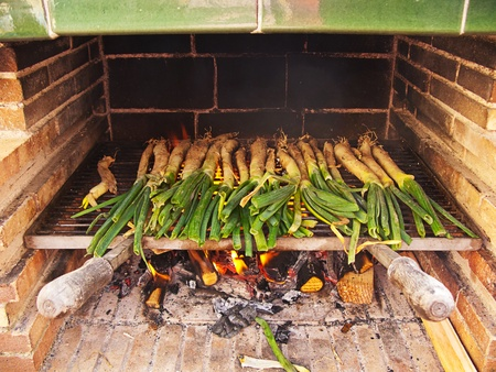 calsots: catalan sweet and young onions being roasted in the barbecue Stock Photo