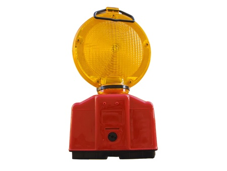 Public construction warning light, isolated in white Stock Photo - 13248286