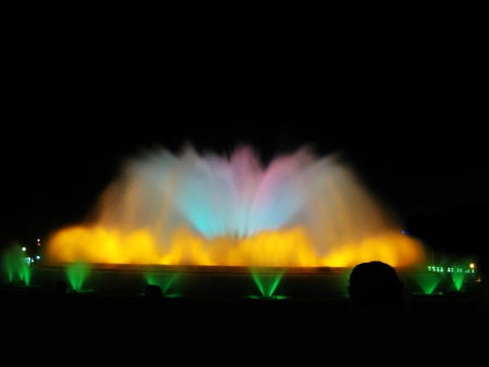 Montjuic magic fountain  A lights,colors and music spectacle at night, displayed in magic fountains situated in Barcelona  Spain  photo