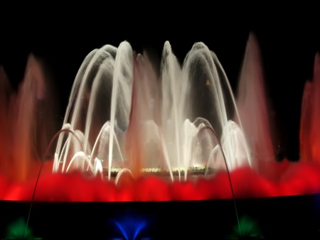 Montjuic magic fountain. A lights,colors and music spectacle at night, displayed in magic fountains situated in Barcelona (Spain) Stock Photo - 13273779