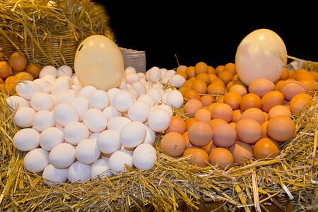 White and brown eggs at the market Stock Photo - 13427579