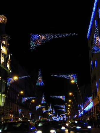 streetlight: Christmas lights in Barcelona street