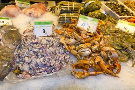 Variety of fresh fish in the market: tuna, codfish, monkfish, goosefish Stock Photo - 13500428