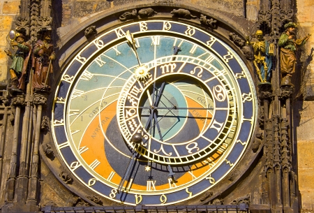 Astronomical clock in Prague (Czech republic) in the Old Town Square. photo