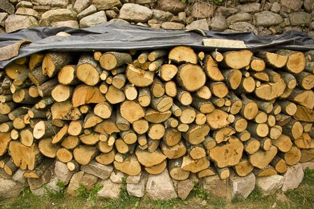Piled firewood trunks, outdoor the home photo