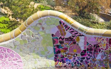 guell: Park Guell modernist benches in Barcelona (SPain) made of mosaic