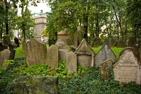 ancestors: Tombstones at the old Jewish cemetery in Prague (Czech Republic) Stock Photo