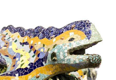 Sculpture of a dragon of Antoni Gaudi mosaic in park guell of Barcelona