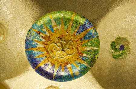 Ceramic mosaic design in Guell Park, Barcelona, Catalonia, Spain. photo