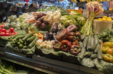 At the market in La Boqueria (Barcelona) Stock Photo