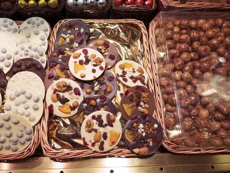 chocolate treats: Chocolate treats in La Boqueria (Barcelona)