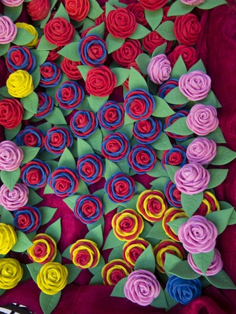 spongy: Homemade rubber roses in different colors