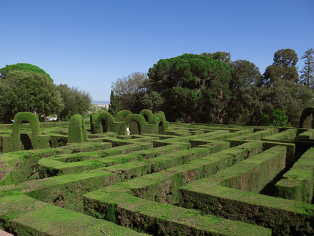 English labyrinth with a blue sky