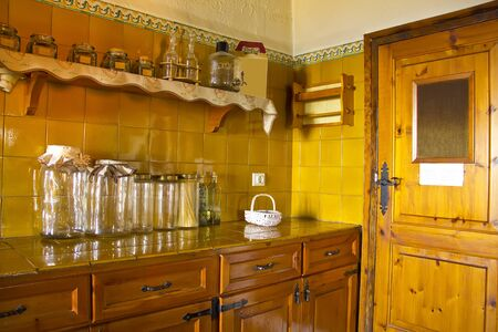 Rustic wooden kitchen in a home Stock Photo