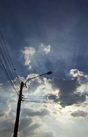 electric line silhouette on sky Stock Photo