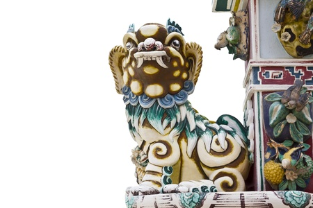 chinese lion statue isolate Stock Photo