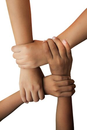 two child join the hands