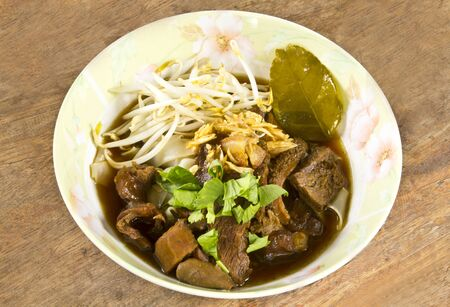 Noodle with cook by steaming beef thai food style  photo