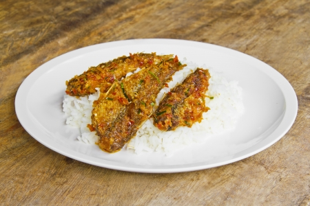Fry fish with cooked rice thai style  Stock Photo - 14773911