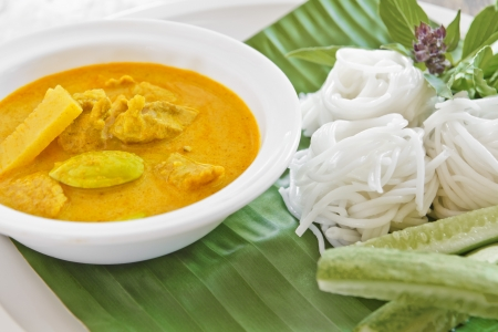 Rice vermicelli with curry thai food style photo