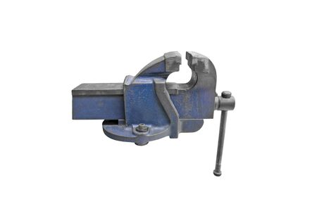 Old vise isolate on the white background Stock Photo