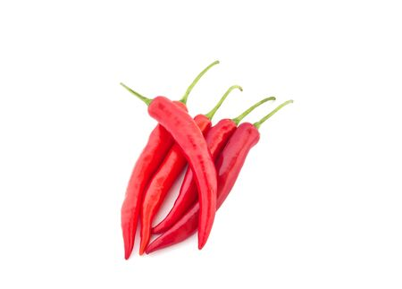 Red hot chili on the white background