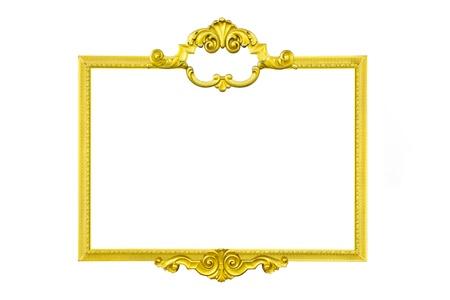 ribetes: marco de oro aislado en el fondo blanco