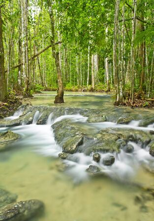 water fall tourist attraction in Krabi,thailand Stock Photo