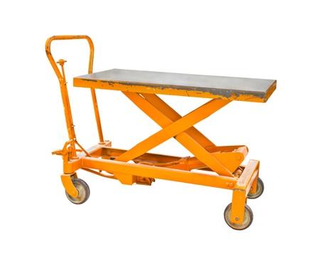 sacktruck: Orange lift cart isolate on white background