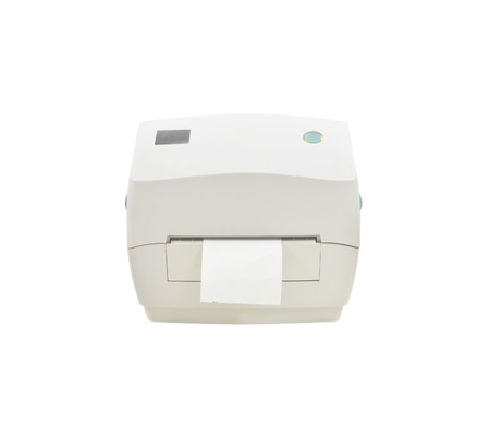 The barcode printer isolate on white background photo